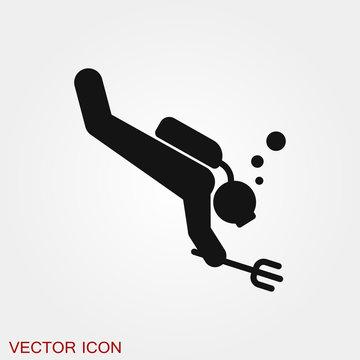 Scuba diver icon vector sign symbol for design