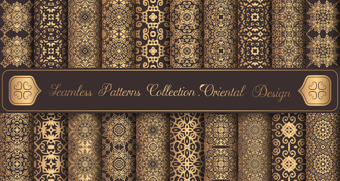 Vintage backgrounds luxury seamless patterns golden design elements