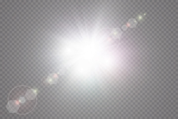 Glow light effect. Starburst with sparkles on transparent background. Vector illustration. Sun Wall mural