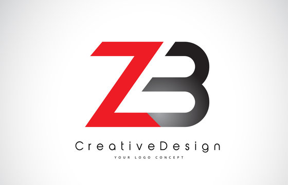 Red and Black ZB Z B Letter Logo Design. Creative Icon Modern Letters Vector Logo.