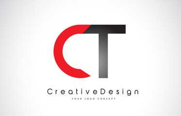 Red and Black CT C T Letter Logo Design. Creative Icon Modern Letters Vector Logo.