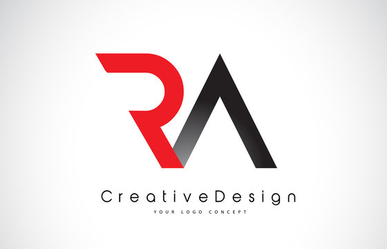 Red and Black RA R A Letter Logo Design. Creative Icon Modern Letters Vector Logo.