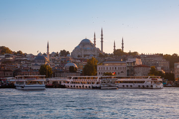 Beautiful view of Istanbul skyline at sunset, Turkey
