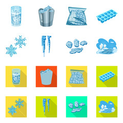 Vector design of texture  and frozen  symbol. Collection of texture  and transparent  stock symbol for web.