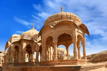 Wall Mural - ancient royal cenotaphs and archaeological ruins at Jaisalmer Bada Bagh Rajasthan, India