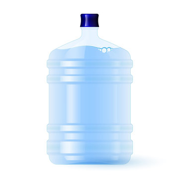 Large plastic bottle with water. Volume five gallons. Clean spring or purified water.