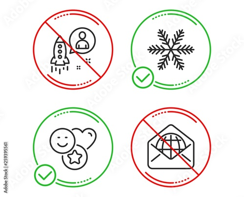Do or Stop  Snowflake, Startup and Smile icons simple set  Web mail