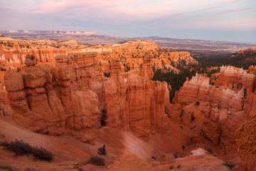 Amphitheater from Inspiration Point with stone formations at sunrise, Bryce Canyon National Park, Utah, USA