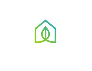 Logo linear icon eco house nature