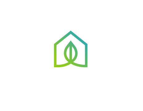 Logo linear icon eco house nature