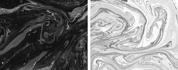 Two trendy hand painted textures for creative design of posters, cards, invitations, prints, banners, websites, wallpapers. Light and dark abstract paintings.