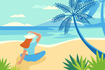 Foto auf Acrylglas Blau Vector illustration in trendy flat and simple style - summer landscape and woman enjoying vacation - background for banner, greeting card, poster and advertising