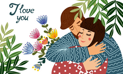 I love you. A man hugs a woman, holding a gift - a bouquet with flowers. Cute vector