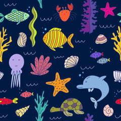 Vector hand drawn seamless pattern. Illustration of underwater animals and underwater plantings.
