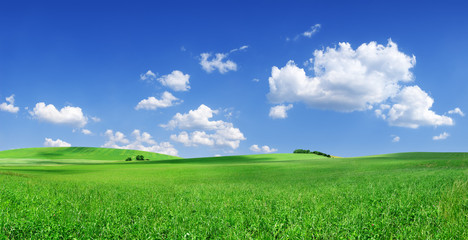 Idyllic view, green hills and blue sky with white clouds Fototapete