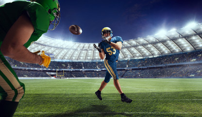 American football player in professional sport arena.