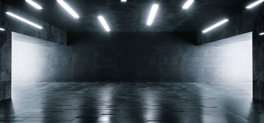 Grunge Concrete Bright Sci Fi Modern Empty Hall Garage Tunnel Corridor With White Lights Led Studio Contrast Look Reflective Texture Room Architecture Cement Background 3D Rendering