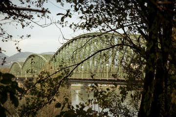Railway bridge across Danube in Linz