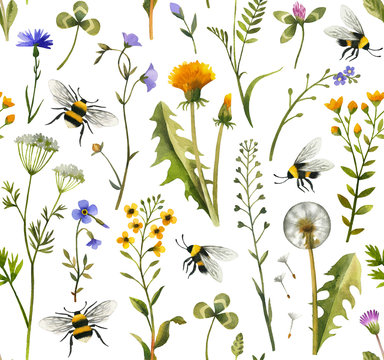 Hand painted watercolor wildflowers and bees. Seamless pattern on white background.