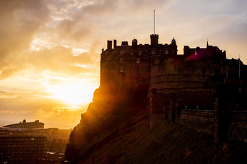 Beautiful medieval castle blackrock in Edinburg Scotland, Delightful sunset.​