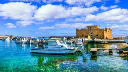 Cyprus landmarks - castle in Paphos town, popular tourist destination Fotobehang
