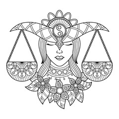 Libra zodiac sign. Zentangle coloring book page for adult.