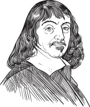 Rene Descartes portrait in line art illustration