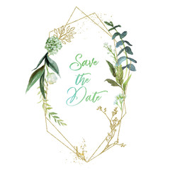 Wall Mural - Watercolor floral illustration with gold branches - geometric leaf frame / wreath, for wedding stationary, greetings, wallpapers, fashion, background. Eucalyptus, olive, green leaves, etc.