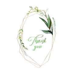Wall Mural - Watercolor floral illustration - geometric leaf frame / wreath, for wedding stationary, greetings, wallpapers, fashion, background. Eucalyptus, olive, green leaves, etc.
