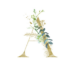 Wall Mural - Gold Floral Alphabet - letter A with botanic branch bouquet composition. Unique collection for wedding invites decoration & other concept ideas.