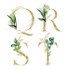 Wall Mural - Gold Floral Alphabet Set - letters Q, R, S, T with green botanic branch bouquet composition. Unique collection for wedding invites decoration and many other concept ideas.