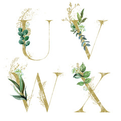 Wall Mural - Gold Floral Alphabet Set - letters U, V, W, X with green botanic branch bouquet composition. Unique collection for wedding invites decoration and many other concept ideas.