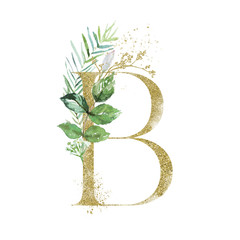 Wall Mural - Gold Floral Alphabet - letter B with botanic branch bouquet composition. Unique collection for wedding invites decoration & other concept ideas.
