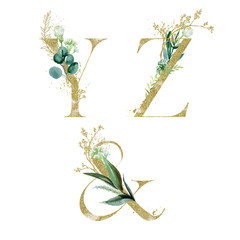 Wall Mural - Gold Floral Alphabet Set - letters Y, Z, & ampersand with green botanic branch bouquet composition. Unique collection for wedding invites decoration and many other concept ideas.