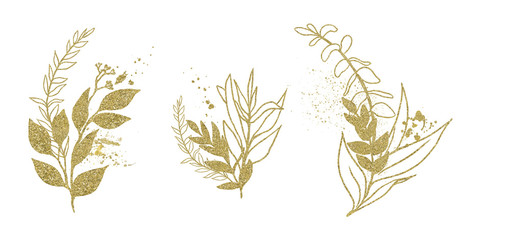 Wall Mural - Watercolor floral illustration set - gold leaf branches, for wedding stationary, greetings, wallpapers, fashion, background. Eucalyptus, olive, green leaves, etc.