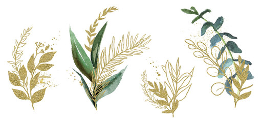 Wall Mural - Watercolor floral illustration set - green & gold leaf branches, for wedding stationary, greetings, wallpapers, fashion, background. Eucalyptus, olive, green leaves, etc.