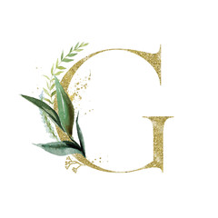 Wall Mural - Gold Floral Alphabet - letter G with botanic branch bouquet composition. Unique collection for wedding invites decoration & other concept ideas.