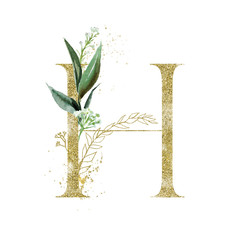 Wall Mural - Gold Floral Alphabet - letter H with botanic branch bouquet composition. Unique collection for wedding invites decoration & other concept ideas.