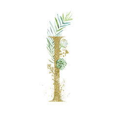 Wall Mural - Gold Floral Alphabet - letter I with botanic branch bouquet composition. Unique collection for wedding invites decoration & other concept ideas.