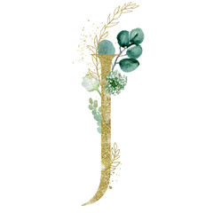 Wall Mural - Gold Floral Alphabet - letter J with botanic branch bouquet composition. Unique collection for wedding invites decoration & other concept ideas.