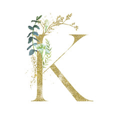 Wall Mural - Gold Floral Alphabet - letter K with botanic branch bouquet composition. Unique collection for wedding invites decoration & other concept ideas.