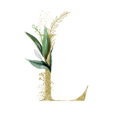 Wall Mural - Gold Floral Alphabet - letter L with botanic branch bouquet composition. Unique collection for wedding invites decoration & other concept ideas.