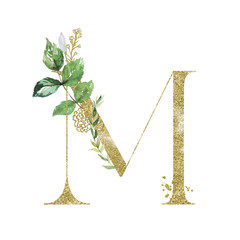 Wall Mural - Gold Floral Alphabet - letter M with botanic branch bouquet composition. Unique collection for wedding invites decoration & other concept ideas.