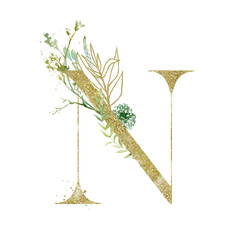 Wall Mural - Gold Floral Alphabet - letter N with botanic branch bouquet composition. Unique collection for wedding invites decoration & other concept ideas.