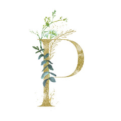 Wall Mural - Gold Floral Alphabet - letter P with botanic branch bouquet composition. Unique collection for wedding invites decoration & other concept ideas.