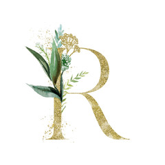Wall Mural - Gold Floral Alphabet - letter R with botanic branch bouquet composition. Unique collection for wedding invites decoration & other concept ideas.