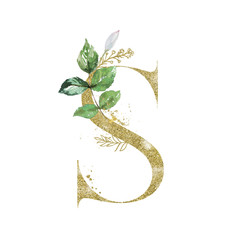 Wall Mural - Gold Floral Alphabet - letter S with botanic branch bouquet composition. Unique collection for wedding invites decoration & other concept ideas.