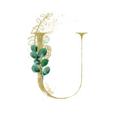 Wall Mural - Gold Floral Alphabet - letter U with botanic branch bouquet composition. Unique collection for wedding invites decoration & other concept ideas.