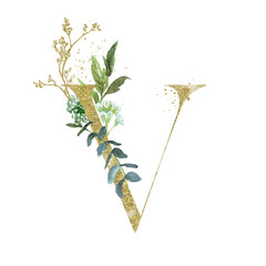 Wall Mural - Gold Floral Alphabet - letter V with botanic branch bouquet composition. Unique collection for wedding invites decoration & other concept ideas.