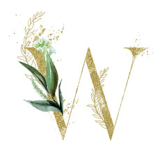 Wall Mural - Gold Floral Alphabet - letter W with botanic branch bouquet composition. Unique collection for wedding invites decoration & other concept ideas.